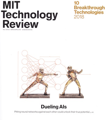 "The March/April, 2018 edition of the ""MIT Technology Review"" covers the topic of Artificial Intelligence (AI) and other emerging technologies in detail."